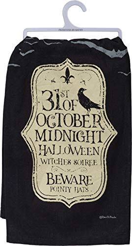 Primitives by Kathy Midnight Halloween Witches Soiree Dish Towel