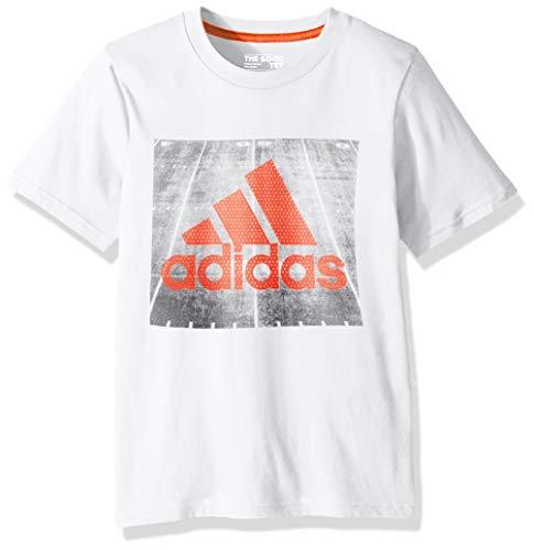 adidas Boys' Toddler Short Sleeve Graphic Tee Shirt, Field White/Orange, -