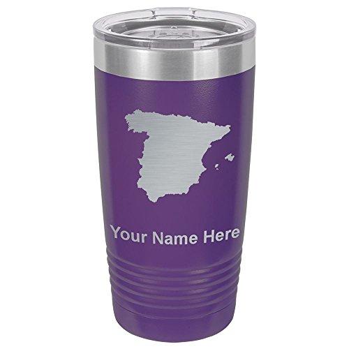 20oz Tumbler Mug, Country Silhouette Spain, Personalized Engraving Included (Dark Purple) by SkunkWerkz
