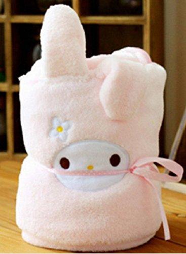 Lovely Cartoon Animal coral polar manta para bebé suave edredón de cama infantil niños Home Saco de dormir, diseño con estampado muselina - Little conejo: ...
