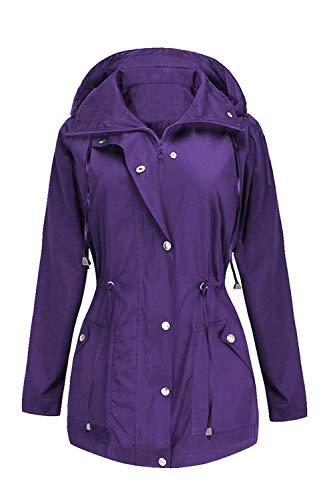 Rain Jacket Women Windbreaker Climbing Raincoats Waterproof Lightweight Outdoor Hooded Trench Coats Purple -