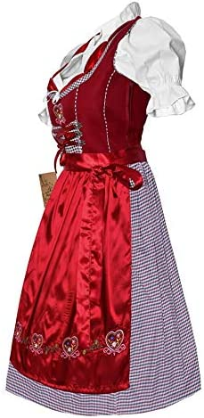 INES Dirndl Trachtenkleid Minidirndl mit Bluse 3 TLG Bordeaux Rot Stickerei