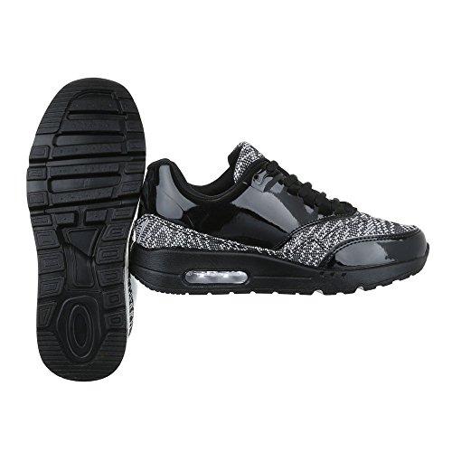 Ital-Design Sneakers Low Damenschuhe Sneakers Low Sneakers Schnürsenkel Freizeitschuhe Schwarz 525-1