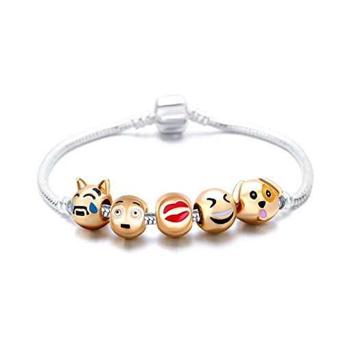 - Romano Stivali 18K Gold Plated Emoji Faces Charms Bracelets with Lobster Clasp Snake Chain (5 Charms, Animal)