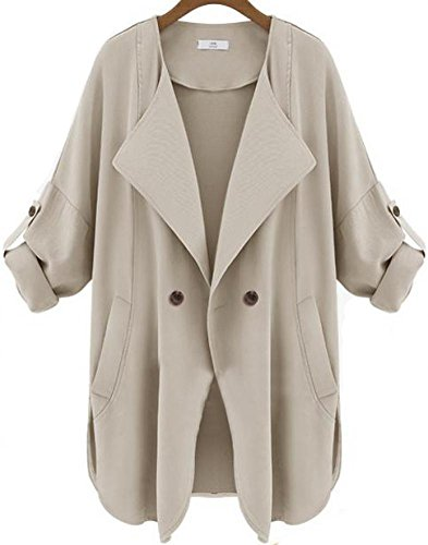 AZIZY Casual Long Sleeve Pockets Khaki L - Brown Trench Shopping Results