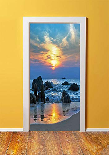 Seaside Decor 3D Door Sticker Wall Decals Mural Wallpaper,Sunset Scenery in Sandy Beach with Rocks and Waves Lonely Peace Morning Dream on Earth,DIY Art Home Decor Poster Decoration 30.3x78.12683,Blue