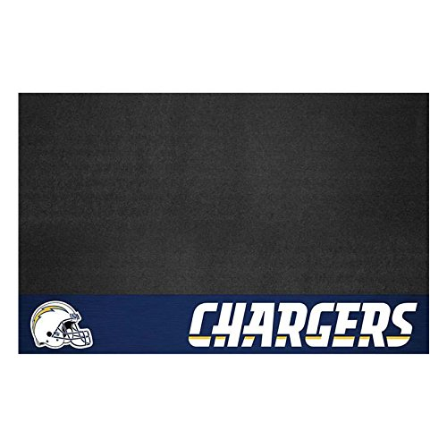 AM 42 X 26 Inch Chargers Grill Mat, Football Themed Outdoor Deck Patio Non Curling Area Rug Carpet Sports Patterned, Team Color Logo Fan Merchandise Athletic Spirit Blue White, Vinyl