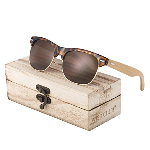 WISH CLUB Half Frame Handmade Wood Temple Square Wayfarer Sunglasses UV Lenses Club Master Classical Style for Women and Men Adults Wooden Bamboo Vintage Light Retro Sun Glasses with Box - Wooden With Sunglasses Frames