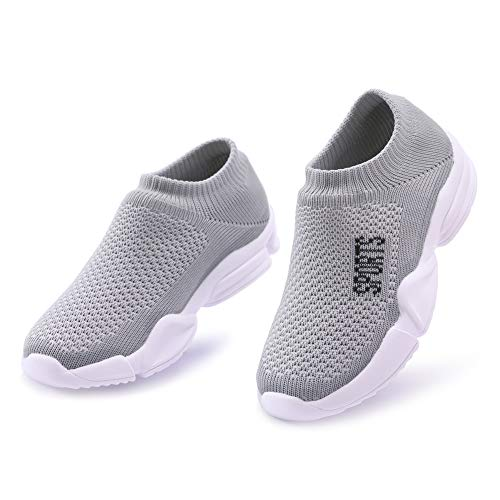 PUREMART Infant Toddler Boys Girls Sneakers Mesh Lightweight Flat Knitted Shoes Sports Running First Walkers for 1-4 Year Old (US 7.5 M Little Kid / 18-24 Month, Mesh Gray)