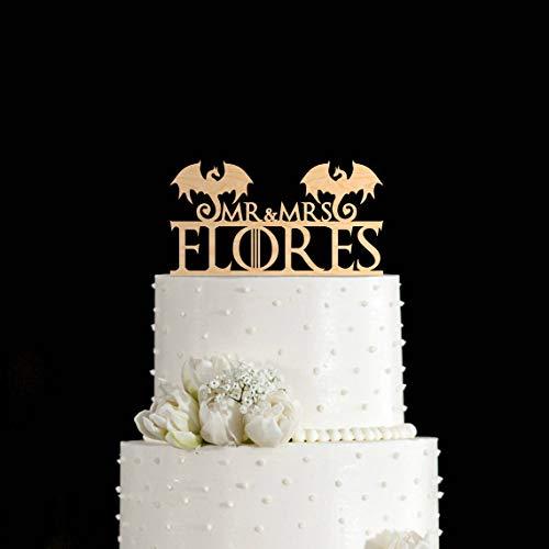 Mr Mrs Custom Last Name with Dragon Silhouette Wedding Cake Topper