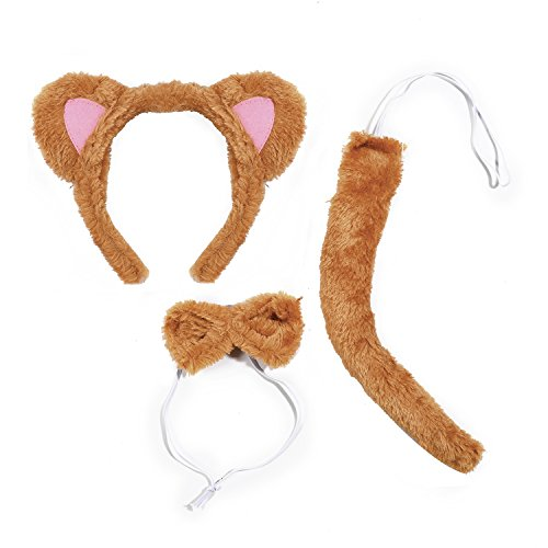 Lux Accessories Brown Colored Lion Pink Ears Ribbonbow Tail Costume Dressup