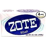 Zote White Laundry Bar Soap, Net WT 14.1 oz, (Pack of 4)