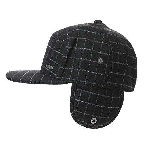 Winter Trapper Hat for Men Baseball Cap with Ear Flaps Flat Bill Hat Fur Hunting Snow Cold Weather Women Black