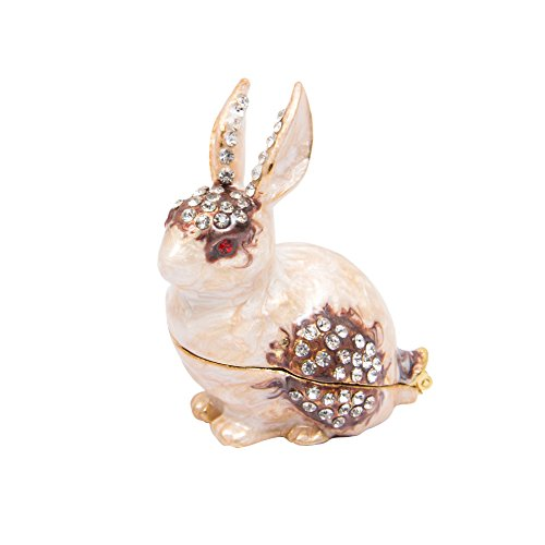 (QIFU-Hand Painted Enameled Rabbit Style Decorative Hinged Jewelry Trinket Box Unique Gift for Home Decor)