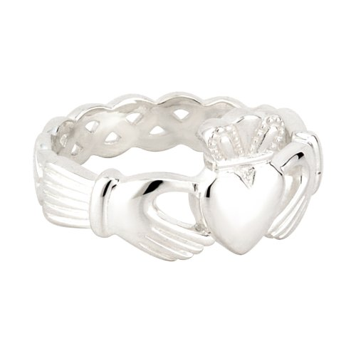 Solvar Sterling Silver Weave Mans Claddagh Ring / Size 9