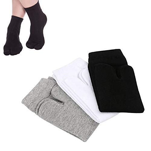SunTrade 3 Pairs Japan Tabi Socks, Split 2 Toe Sandals Ninja Slipper Japanese Kimono Cotton