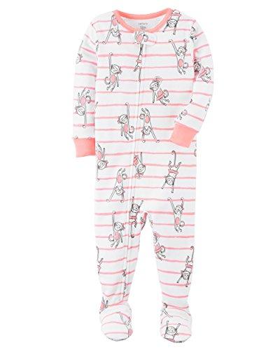 Carter's Little Girls' 1 Piece Snug Fit Cotton Pajamas (Pink Monkeys, 4T)