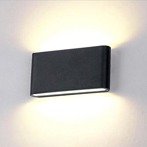 BRILLRAYDO 12W LED Outdoor Exterior Wall Sconces Step Down Light Fixture Lamp Black Finish Warm White