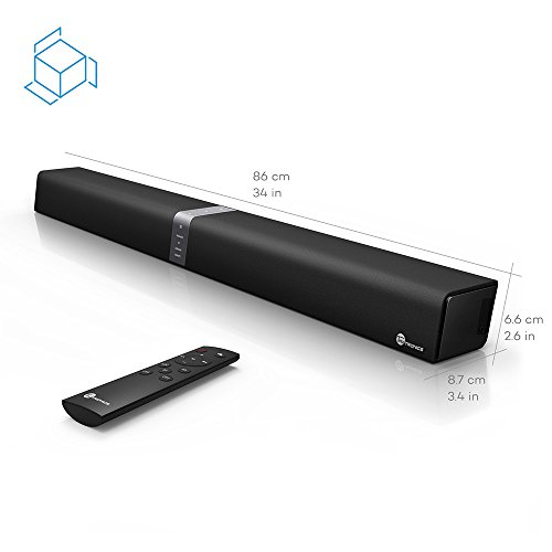 TaoTronics Sound Bar, 34-Inch Soundbar (Upgraded Sound Quality, Deep Bass, Wired and Wireless Bluetooth Speaker with Touch and Remote Control) by TaoTronics (Image #5)