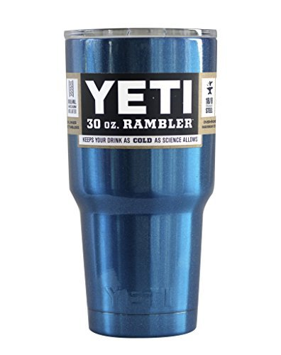 YETI Rambler Cup Custom Colors, 30 oz, Stainless Steel Tumbler, Travel Mug, Powder Coated (Untamed Blue)