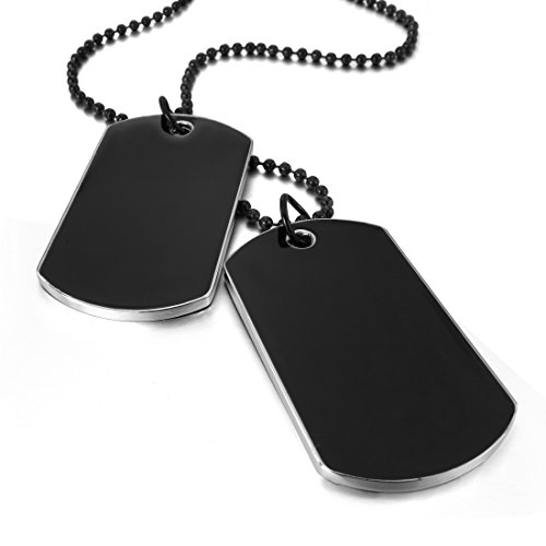 [INBLUE Men's 2 PCS Alloy Enamel Pendant Necklace Black Army Style Name Double Dog Tag 27 Inch Chain] (Army Dog Costumes)