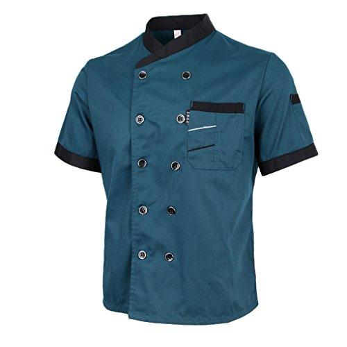 (Homyl Professional Women's Men's Chef Jacket Coat Cafe Hotel Kitchen Work Short Sleeve Waiter Waitress Uniform M - 2XL - Blue, XL)