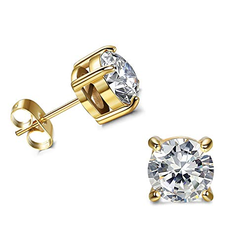 D/VVS1 Round Cut Diamond Fancy Party Wear Solitaire Stud Earrings 18K Yellow Gold Over .925 Sterling Silver For Women's & Girls (3MM TO - Solitaire Round Diamond Yellow
