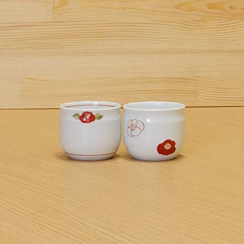 Imari [2 Cups Set] Pottery Japanese Small Sencha Tea Cup Set Red & White Camellia 17003001