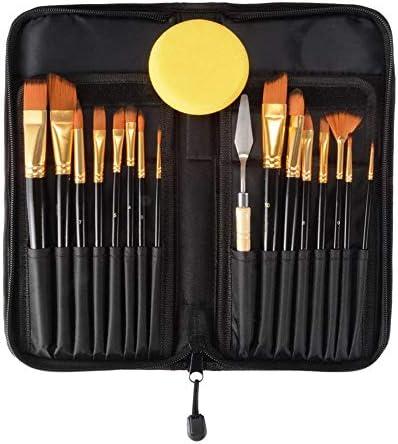 絵筆 15PCSヘアーアーティストアクリルオイルペイントブラシ絵画ペイントの収納ケース水彩でブラシパレットスポンジセットをペイント 複数のサイズとお楽しみください (色 : Black, Size : 15pcs)