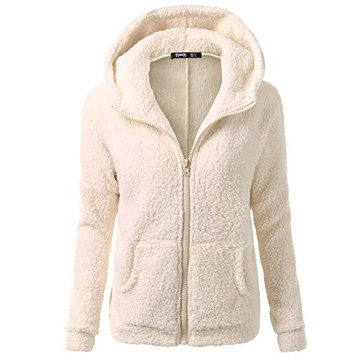 COPPEN Women Coat Button Fluffy Tail Tops Hooded Pullover Loose Sweater (Y-Beige, -