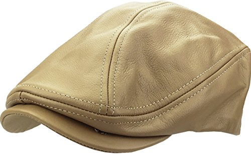 Leather-Ascot KHK S/M Genuine Leather Ascot Ivy Made in USA Hat (Leather Hat Comfortable)