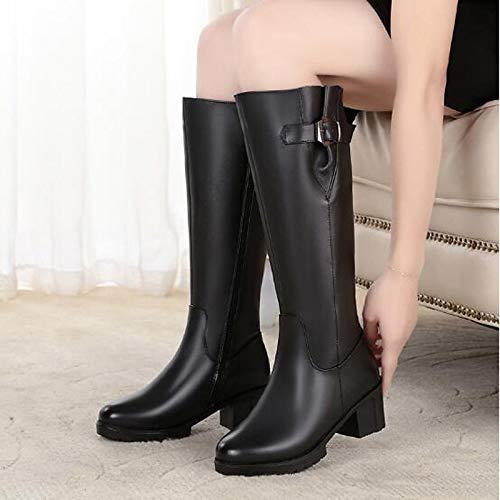 Black US6.5-7   EU37   UK4.5-5   CN37 Black US6.5-7   EU37   UK4.5-5   CN37 Women's shoes Leather Nappa Leather Spring Winter Comfort Boots Chunky Heel Black