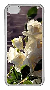 iPhone 5C Case, Personalized Custom White Roses In The Rain for iPhone 5C PC Clear Case