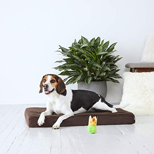 - BarkBox Medium 3 Inch Tall Brown Ultra Plush Orthopedic Memory Foam Dog Bed or Crate/Kennel Mat - Removable Washable Cover - Free Surprise