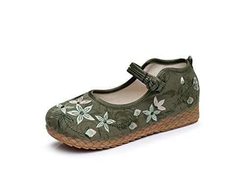 Mary Embroidery Style Party Dancing Women Jane Lazutom Green Vintage Casual Chinese Shoes Lady g10qX