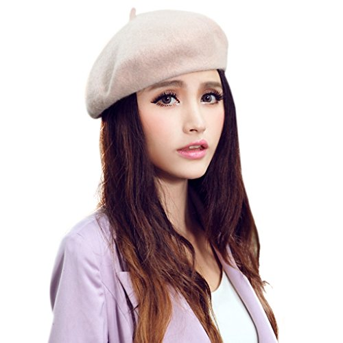 Chic 100% Wool Winter Warm Classic French Beret Beanie Hat Cap for Women Girls - Solid (Winter Soldier Costume Female)
