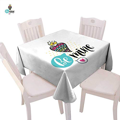 cobeDecor Romantic Dinner Picnic Table Cloth Colorful Patterned Heart Shape with a Crown Creative Typography Phrase Be Mine Waterproof Table Cover for Kitchen 60
