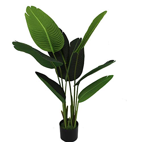 UNIQUE FOREST ARTS Artificial Silk Bird of Paradise Palm Tree Potted Tree Artificial Travelers Tree, Artificial Silk Plant,Artificial Tree 6-Feet, 4-Feet high, Green (Size:48