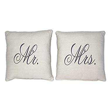 Country House Collection Primitive Sentimental Cotton 8  x 8  Throw Pillow (Mr. & Mrs. Bundle)