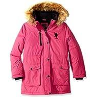 U.S. Polo Assn. Girls' Parka Jacket with Faux Fur Hood