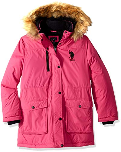 U.S. Polo Assn. Girls' Toddler Parka Jacket with Faux Fur Hood, Fuchsia Purple, 3T (Parks And Recreation Polo)