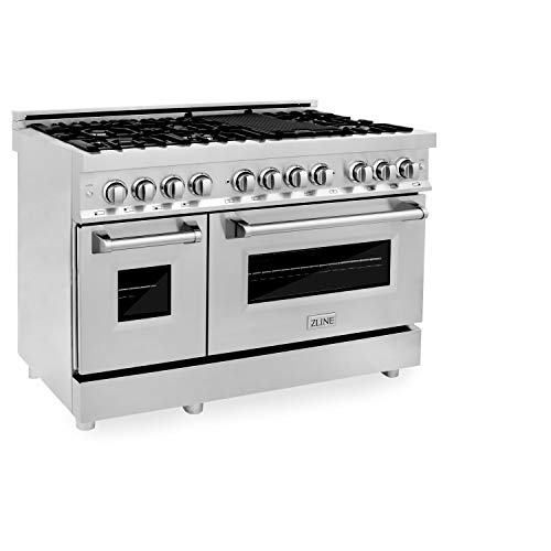 ZLINE 48″ 6.0 cu. ft. Dual Fuel Range with Gas Stove and Electric Oven with Color Options (RA48) (Stainless Steel)
