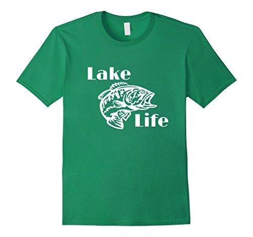 Mens Lake Life Shirts, Largemouth Bass Fishing Lake Shirt Large Kelly Green