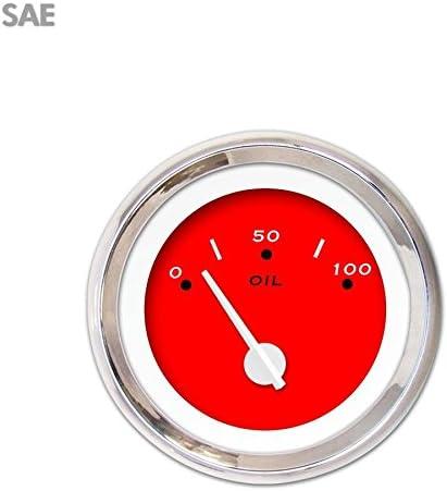 Red Modern Needles, Chrome Trim Rings, Style Kit DIY Install Aurora Instruments 3208 VX Blue SAE Oil Pressure Gauge