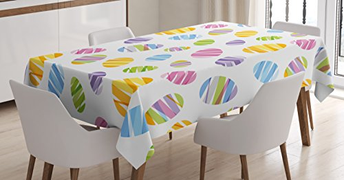 Lunarable Easter Tablecloth, Ribbon Pattern Ornamental Egg Shape Design Colorful Illustration Geometric Seasonal, Dining Room Kitchen Rectangular Table Cover, 60