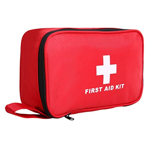 Fluorodine 180 Piece Compact First Aid Kit, Emergency Medical Case,Survival Bag for Home, Outdoor,Camping, Car, Workplace, Hiking Red (Compartment Event Kit)