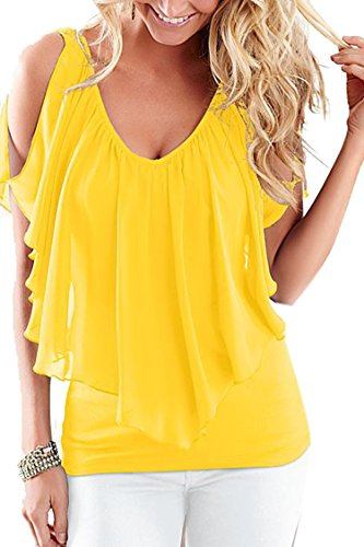 (Moly Magnolia Womens V Neck Sleeveless Cold Shoulder Club Party T Shirt Tops Yellow)