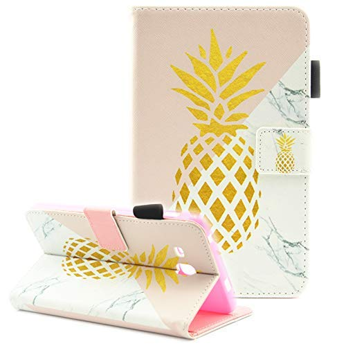 Tablet Folio 7 (Samsung Galaxy Tab A 7.0 Case, T280 Case, Galaxy Tab A 7.0 2016 Case, Fvimi Folio Flip PU Leather Wallet Stand Cover for Samsung Galaxy Tab A 7.0 Inch Tablet 2016 Release, Gold Pineapple)