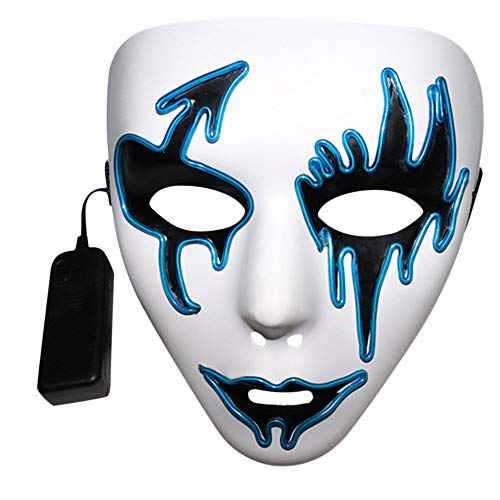 (MaxFox Halloween Sound Activated LED Light Up Mask Dance Rave EDM Plur Party Glowing Full Face Grimace Mask)