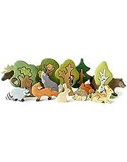 Houten bosdieren speelgoed + bomen puzzel, natuurlijke thema's tafel ornament decoratie - 3D bos dieren beelden, homepedagogische houten puzzels voor kinderen en volwassenen, verjaardagscadeau, feestaccessoires